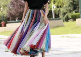 Rainbow Pleated Skirt Womens Rainbow Stripe Skirt Tulle Maxi Skirt Outfit image 2