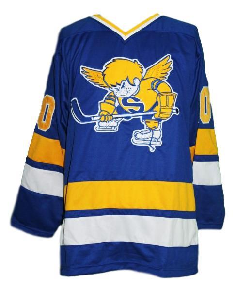 Minnesota fighting saints retro hockey jersey blue   1