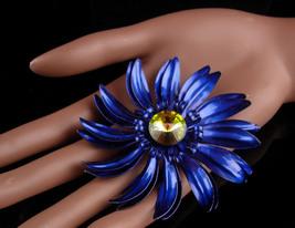 HUGE blue Brooch -  BIGGEST enamel flower pin Rivoli rhinestone - Rare B... - $95.00