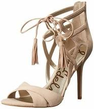 New Sam Edelman Sandal Strappy Tassel Suede Soft Nude High Heel Shoes Sz 9.5 - $72.79