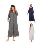 New Bathrobes Women Hooded Long Sleeve Zip Front Sleepwear Night Gown Ba... - $48.99