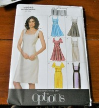 Vogue Pattern V8648 Dress Lined Neck Variations New Factory Folded * - $9.88
