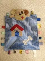 Taggies Peek A Boo Buddy Security Lovey Puppy Dog Baby Blanket Blue Stripes - $16.82