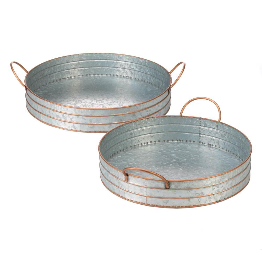 2-Piece Galvanized Metal Tray Set Available in Three Designs