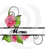 Flower Split Monogram Mom 201smp-Digital Clipart-Art Clip-Gift Cards-PNG... - $1.99