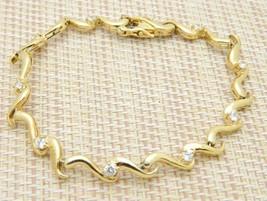 .925 Sterling Silver Gold Vermeil White Beryl Goshenite Tennis Bracelet - $39.59
