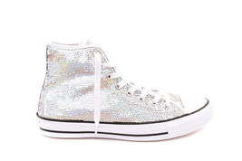 Converse Womens CTAS HI 553440C Sneakers Silver/White Size US 6 RRP $134 - $69.00