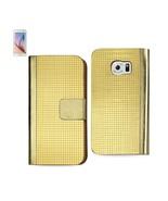 REIKO SAMSUNG GALAXY S6 GOLD CHROME DESIGN WALLET CASE IN GOLD - $8.13