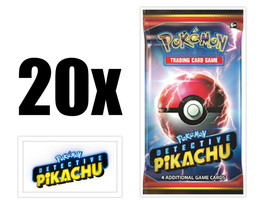 Pokemon TCG Detective Pikachu 20 Booster Pack Lot Movie Trading Cards - $58.95