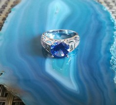 Clear Blue Crystal Silver Ring Size 7 - $39.43