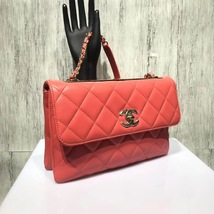 AUTHENTIC CHANEL CORAL RED QUILTED LAMBSKIN TRENDY CC 2 WAY HANDLE FLAP BAG GHW image 2