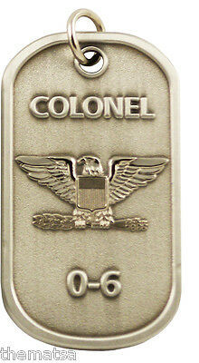 "Primary image for AIR FORCE COLONEL  0-6 ENGRAVABLE REGULATION MILITARY  METAL DOG TAG 24"" CHAIN"