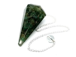 Verde Aventurina Orgonica Péndulo Cristal Curativo Metálico Dorado Cem Protector - $18.63