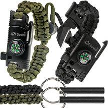 A2S 2 SHARP Paracord Bracelet 4pcs set Survival Gear Kit - Compass, Fire... - $9.00+