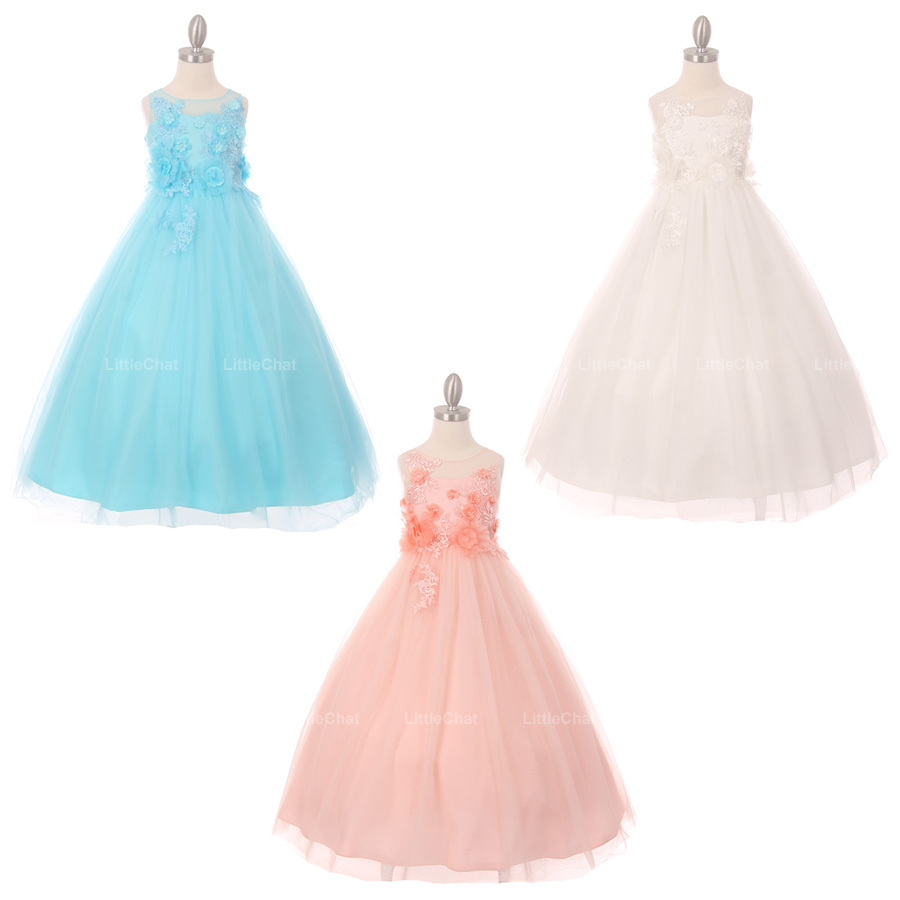 Aqua Illusion Arise Flowers Embellishment Lace Floor Length A-Line Girl Dress