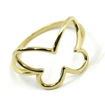 SOLID 18K YELLOW GOLD BUTTERFLY TUBE RING, SMOOTH image 3