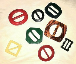 Lot of 8 Vintage Ribbon Slide Buckles Plastic Multicolored Assorted Size... - $18.32
