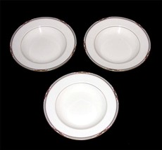 3 Mikasa Bone China Gold GEM STONE Stained Glass Border Wide Rimmed Soup... - $24.99