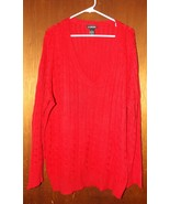 Lane Bryant Red V-Neck Long Sleeve Lightweight Sweater - Size 26/28 - $18.99
