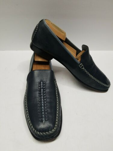 Primary image for Cole Haan Mens Woven Blue Leather Loafers Size 10B  D15691 Custom Weave Shoes