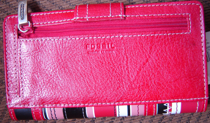 FOSSIL WOMEN'S 1 WALLET GENUINE 100%LEATHER RED/BLACK MULTI STRIPED NEW image 4