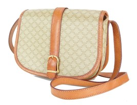Authentic CELINE Beige Macadam Canvas and Leather Shoulder Bag Purse #29995 - $149.00