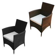 2 pc Patio Garden Rattan Wicker Dinner Chairs  Armchairs Cushions 2 Color - $109.99+