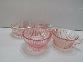4 Pieces Depression Glass Pink Jeanette Queen Mary Ribbed 1 Teacup  3 Bowls - $17.59