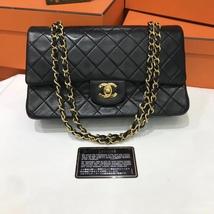 100% Authentic Chanel Vintage Black Lambskin Medium Classic Double Flap ... - $2,688.00