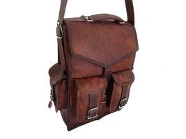 Men's vintage Leather backpack rucksack bag laptop casual travel school bags image 3