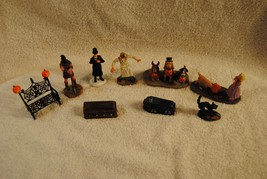 Lot of 9 Rare Lemax Spooky Town Figures Coffin Dogs Cat Evil Doctor and ... - $49.99