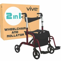 Vive Rollator Wheelchair - Transport Walker Chair - 8 Inch Wheels - Fold... - $264.08
