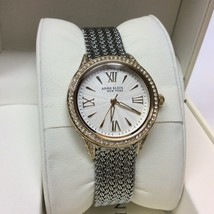 Anne Klein 12/2291SVTT Two Tone Swarovski Crystal Mesh Women's Watch  - $24.74