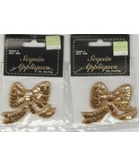 Sequin Appliques by Wang's International ~ Christmas Gold Bow Lot of 2 - $9.90