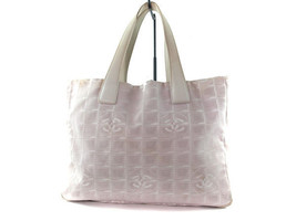 Auth CHANEL Travel line Canvas, Leather Pinks Tote Bag CT8387L - $159.00