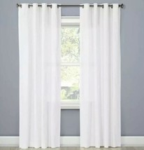 "ONE Threshold Natural Solid Curtain Panels White Textured Grommet Top 54"" x 84"" - $21.77"