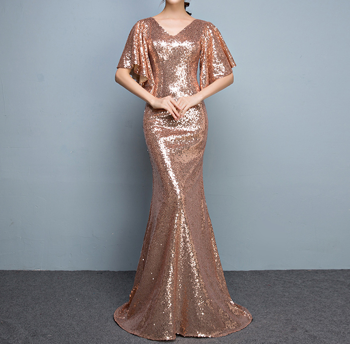 Rose Gold Sleeves Sequin Dress Gold Maxi Long Plus Size Mermaid Sequin Dress NWT