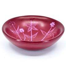 Tabaka Chigware Hand Carved Kisii Soapstone Red Spring Flower Trinket Bowl Kenya image 2