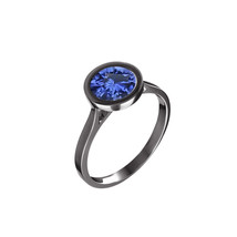 Rhodium Finish 925 Sterling Silver Blue Sapphire Womens Wedding Engageme... - $65.99