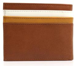 NEW TOMMY HILFIGER MEN'S LEATHER DOUBLE BILLFOLD ID WALLET HONEY TAN 31TL130014 image 7