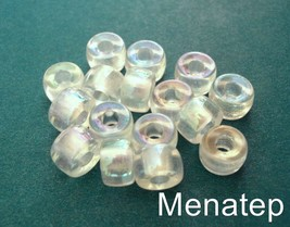 25 5 x 9mm Czech Glass Roller/Crow Beads: Crystal AB - $2.75