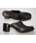 Clarks Brown Leather 8 M Ladies Shoes Mules Clogs Women Stacked High Hee... - $24.99
