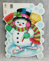 Eureka Christmas Die Cut Anthropomorphic Snowman 2 Sided Decoration Top ... - $9.90