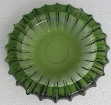 Vintage Blenko Emerald Green Large Round Ashtray Pressed Glass Design - $45.99