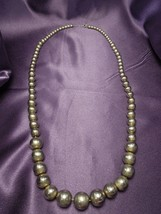 Metal Silver Tone Beaded Necklace Graduated Beads Vintage Fashion Jewelry - $31.19