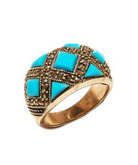 Ring 925 Sterling Silver Turquoise Marcasite Jewelry Vintage Beautiful I... - $219.45