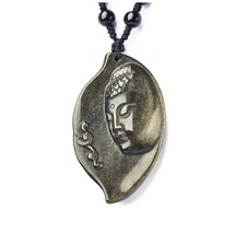 Natural Gold Obsidian stone buddha charm zen buddha pendant beaded necklace - $39.60