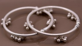 HANGING NOISY BELLS SILVER FOOT INDIAN BELLY DANCE ANKLE BRACELET JEWELR... - $217.79