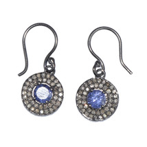 6 MM Round Tanzanite,Cz Stone 925 Sterling Silver Earring Jewelry SHER0104 - $78.53