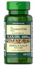 Puritan's Pride Natural Flax Oil 1000 mg - 60 Rapid Release Softgels - $21.68